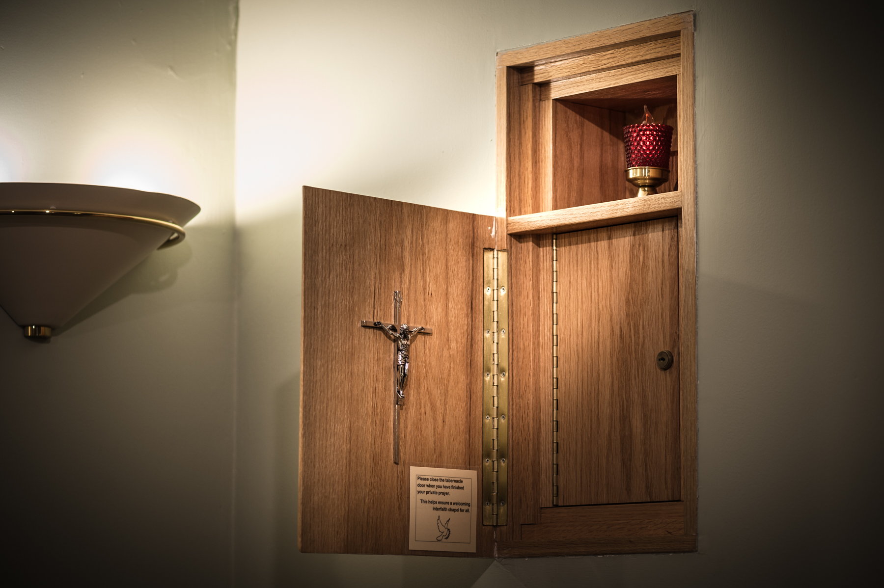 A tabernacle holds communion.