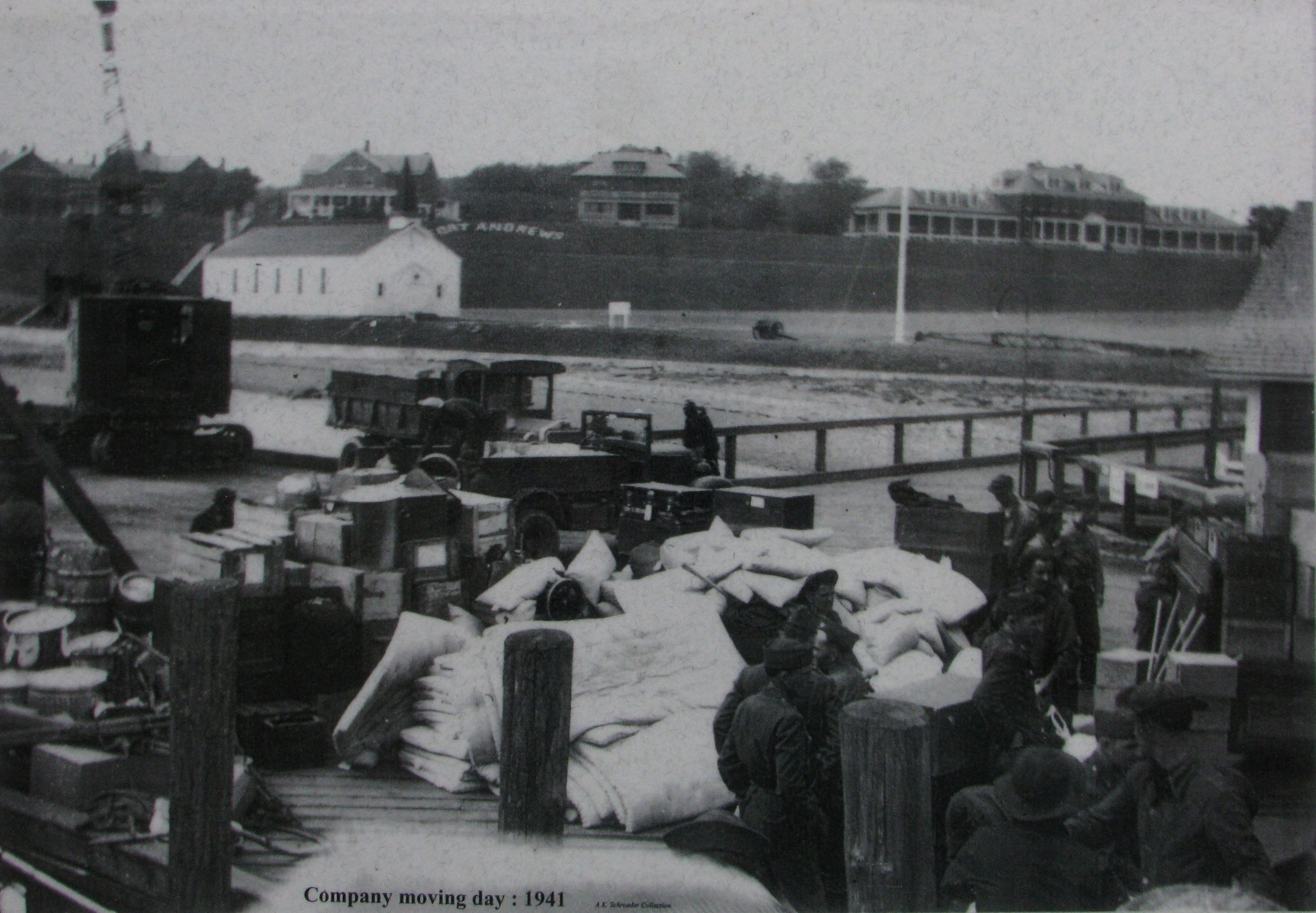 PT-1e. Chapel at Fort Andrews (background)_company moving in day chaos (1941).jpg