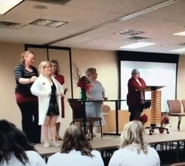 It's grainy, but that's my little sis getting her white coat for nursing! I am SO INCREDIBLY proud of her! Love you so much @simoneoberholzer, keep up the hard work and keep on changing lives! ♥️♥️♥️ #hardworkpaysoff #proudbigsis #whitecoatceremony