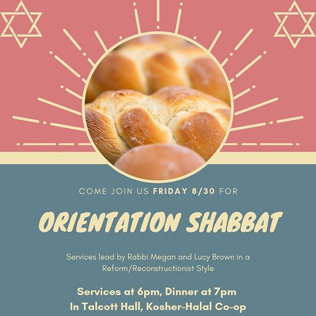 This Friday we are welcoming in the first years, and what better way than an orientation Shabbat? Click the link in our bio to RSVP to Shabbat 💖✡️