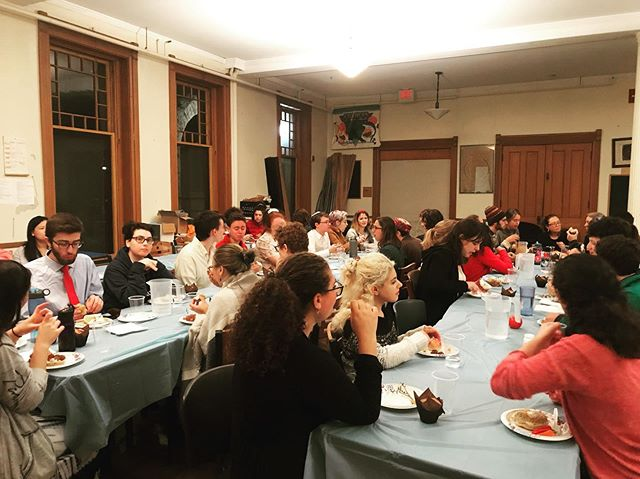 Facts: this could be you eating & schmoozing if you come to Shabbat tonight!