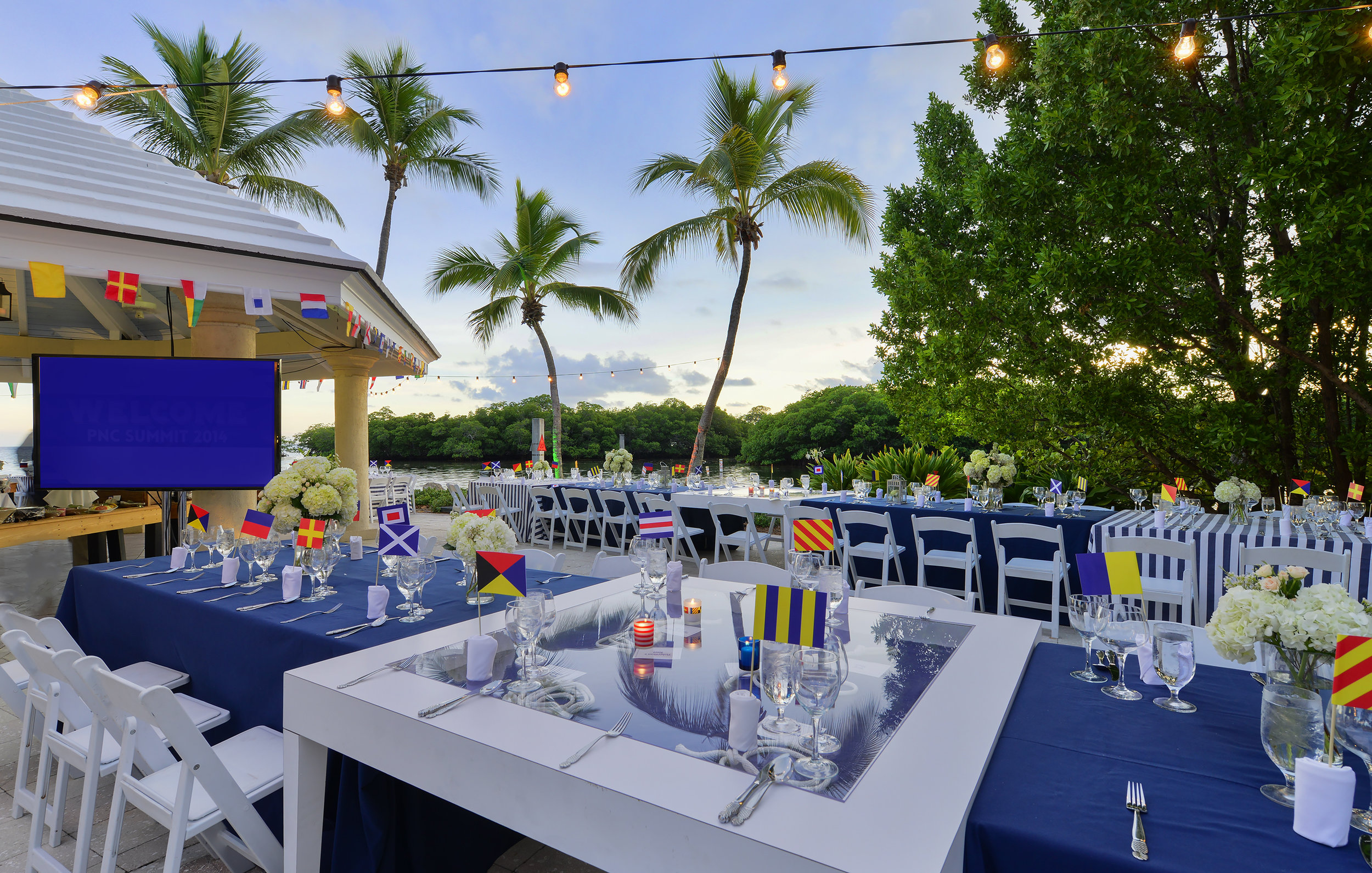 nautical table settings and palm trees