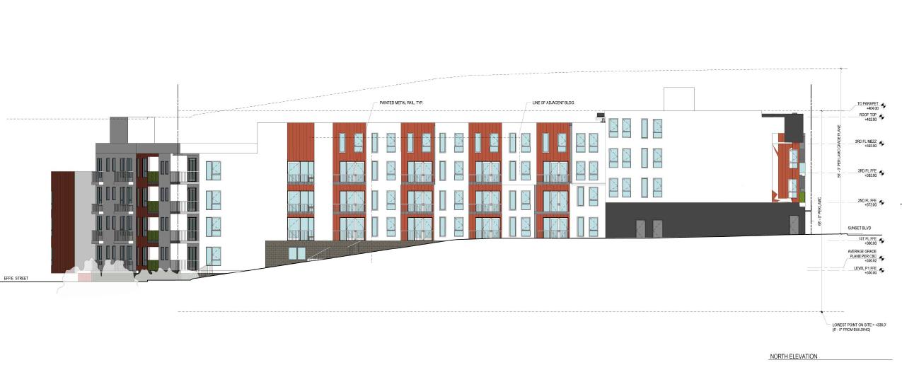 """4211 Sunset Blvd - Site 3 - 4 stories + """"basement""""- 68 feet - 122 units"""