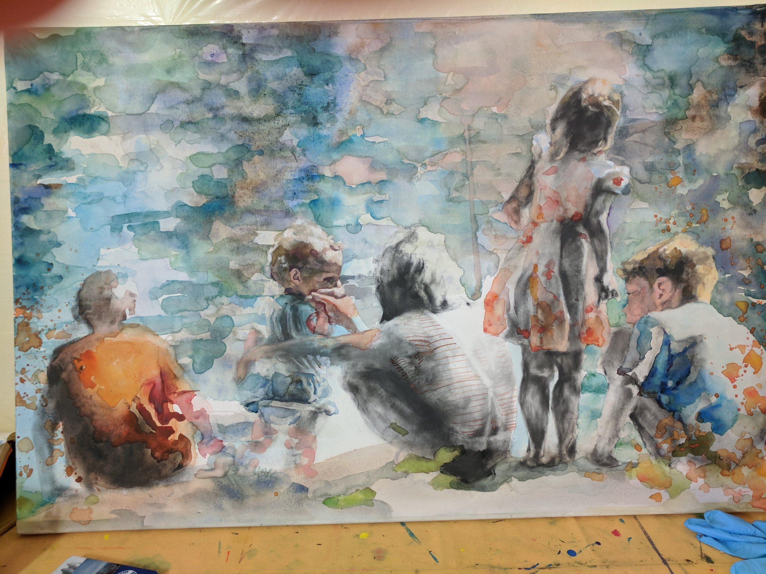 Session #5 and #6 After working with loose graphite, I had to spend some time cleaning up the overall surface of the canvas which made a surprising difference in seeing all of the watercolor layers that had been hidden underneath. In these sessions, more warmth was added to the background to counterbalance the bright orange figure on the left.  Highlights and details were added to the female figure on the right and both heads were given stronger structure.