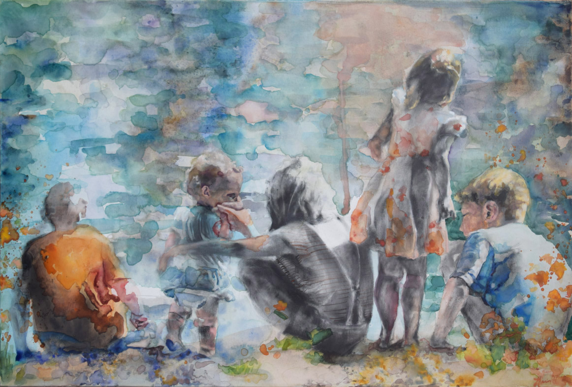 "Seaside Memories 36""x24"", mixed media on canvas.    This is the first time I used Yes! Canvas in my search for trying to find a surface for working in mixed media.  I am so happy with how it received both wet and dry materials!  I was considering going back to working in mixed media for some time so this first attempt at bringing it to canvas  brings exciting prospects.  Looking forward to continuing my explorations!"