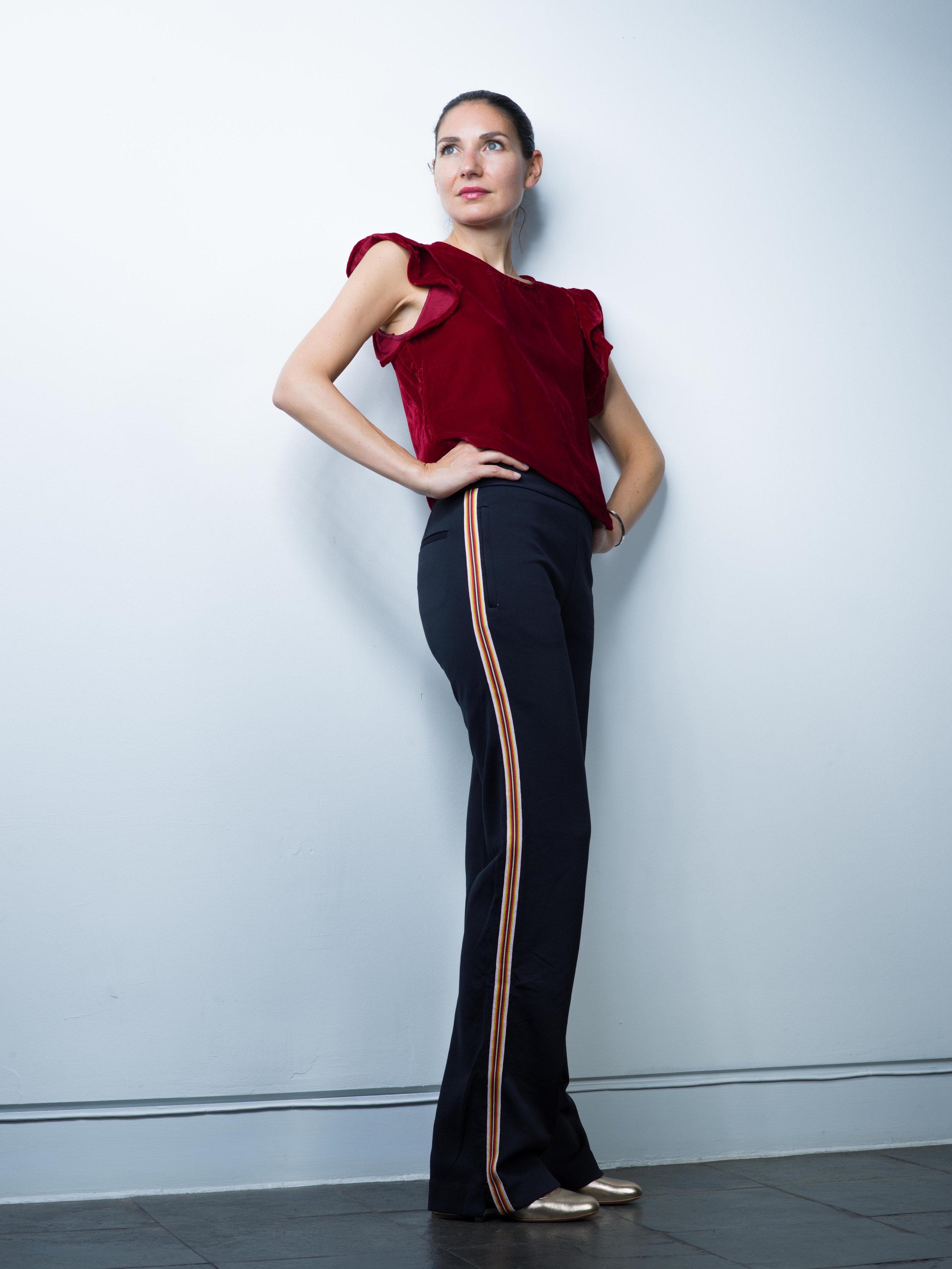 Zara Red Velvet Top