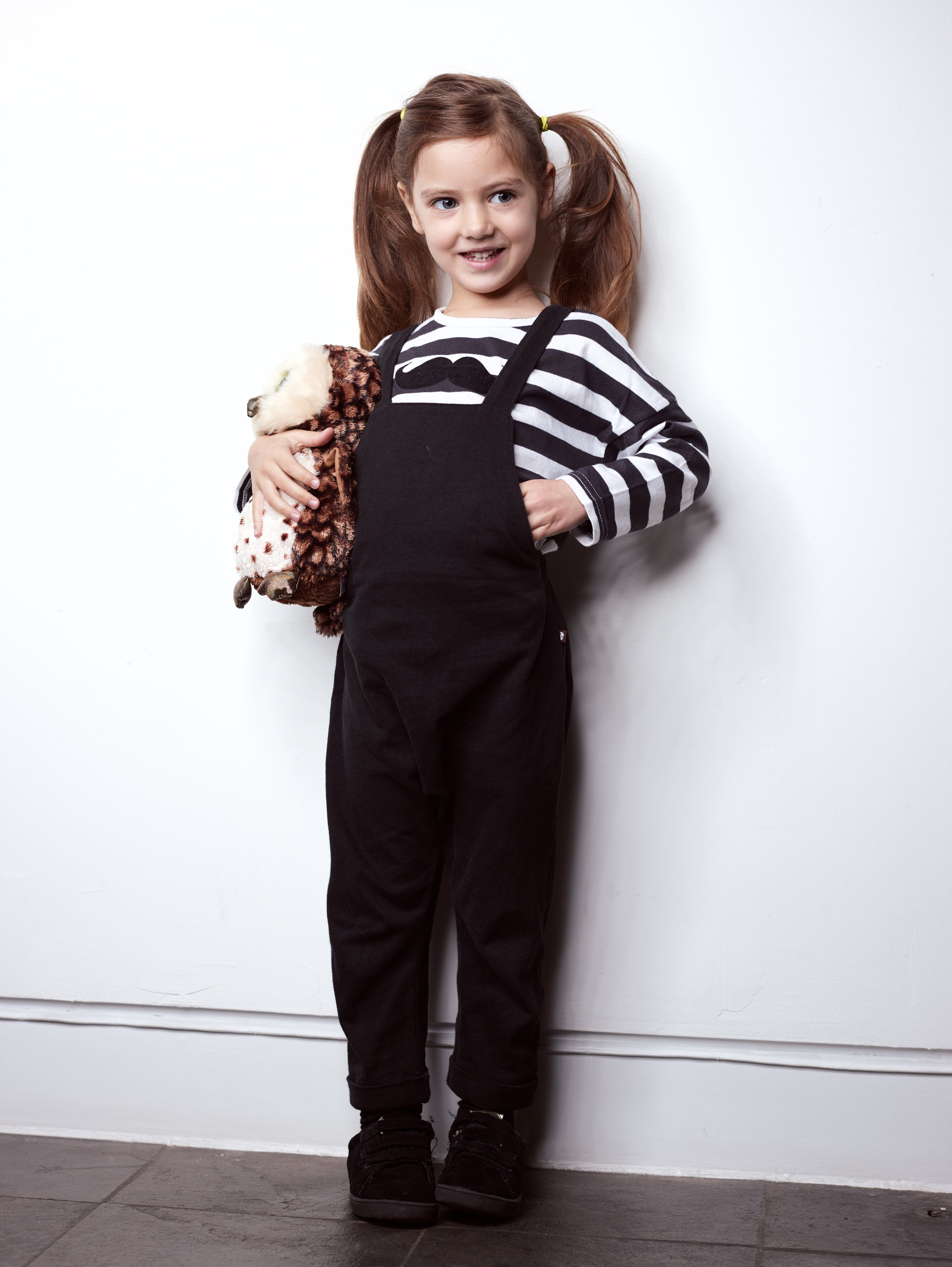 Dungarees, T-shirt and Trainers from Greenberry Kids. Dungarees are from the current collection.