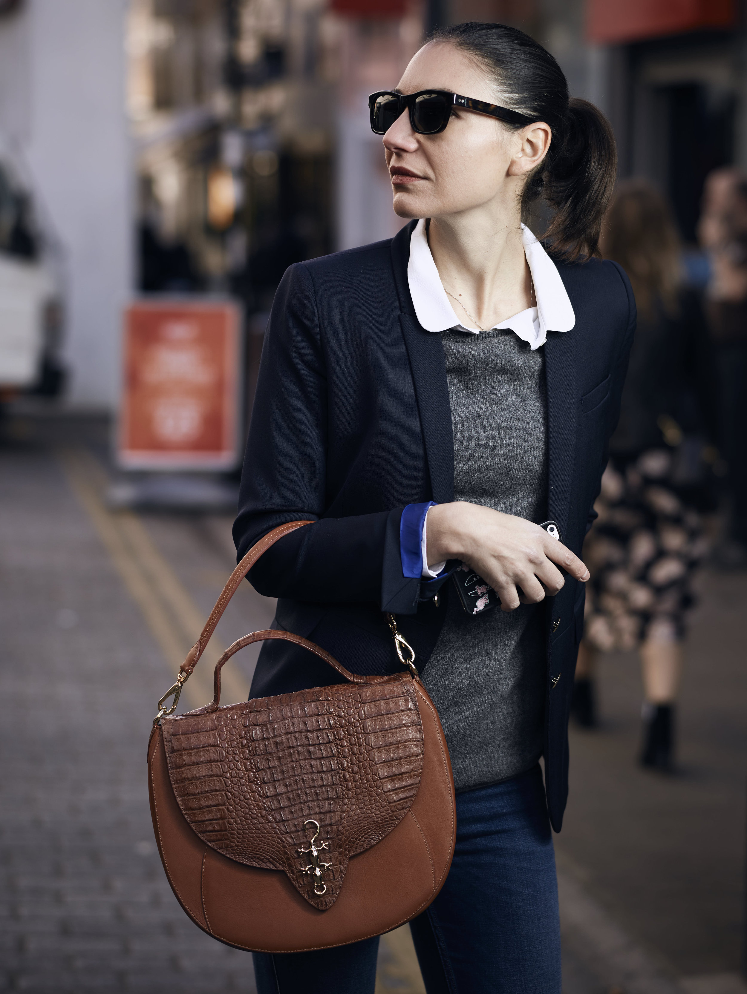 Josephine Saddle Bag sold out in Cognac but still available in  grey  or  burgundy  at 60% off (£260).