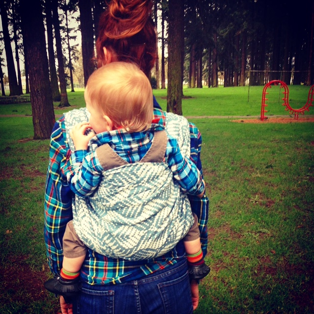 Portland Mama Babywearing her toddler outside