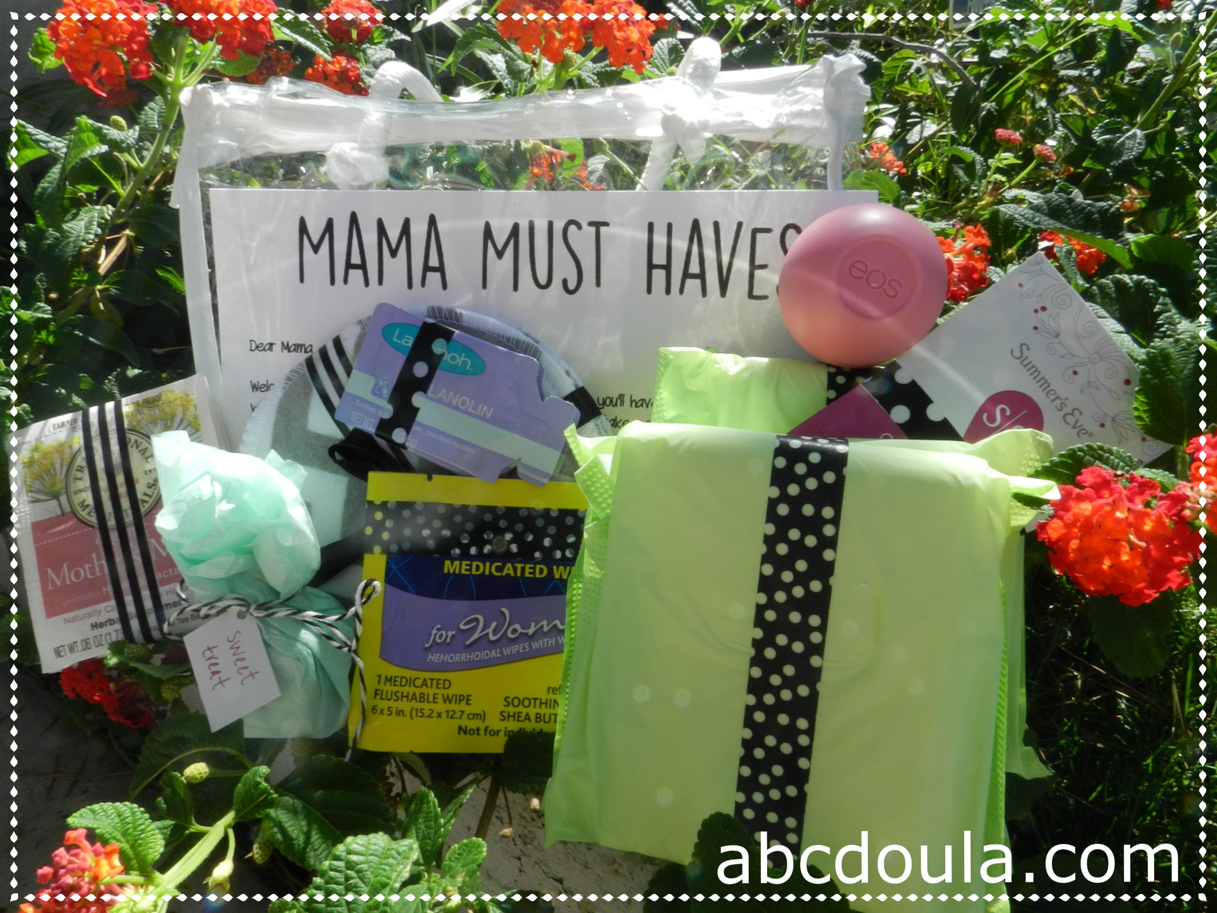 Package of care products for brand new moms sent right to a new mom's door.