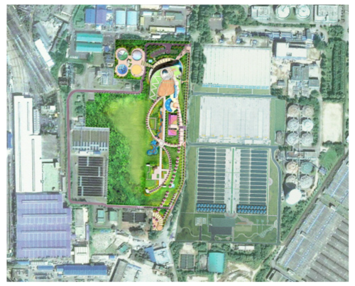 Aerial view of the Jungrang BBF retrofit .