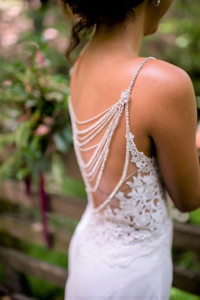 Back necklace Wedding, bridal Back necklace, Crytal bridal necklace Champagne and GRIT.jpg