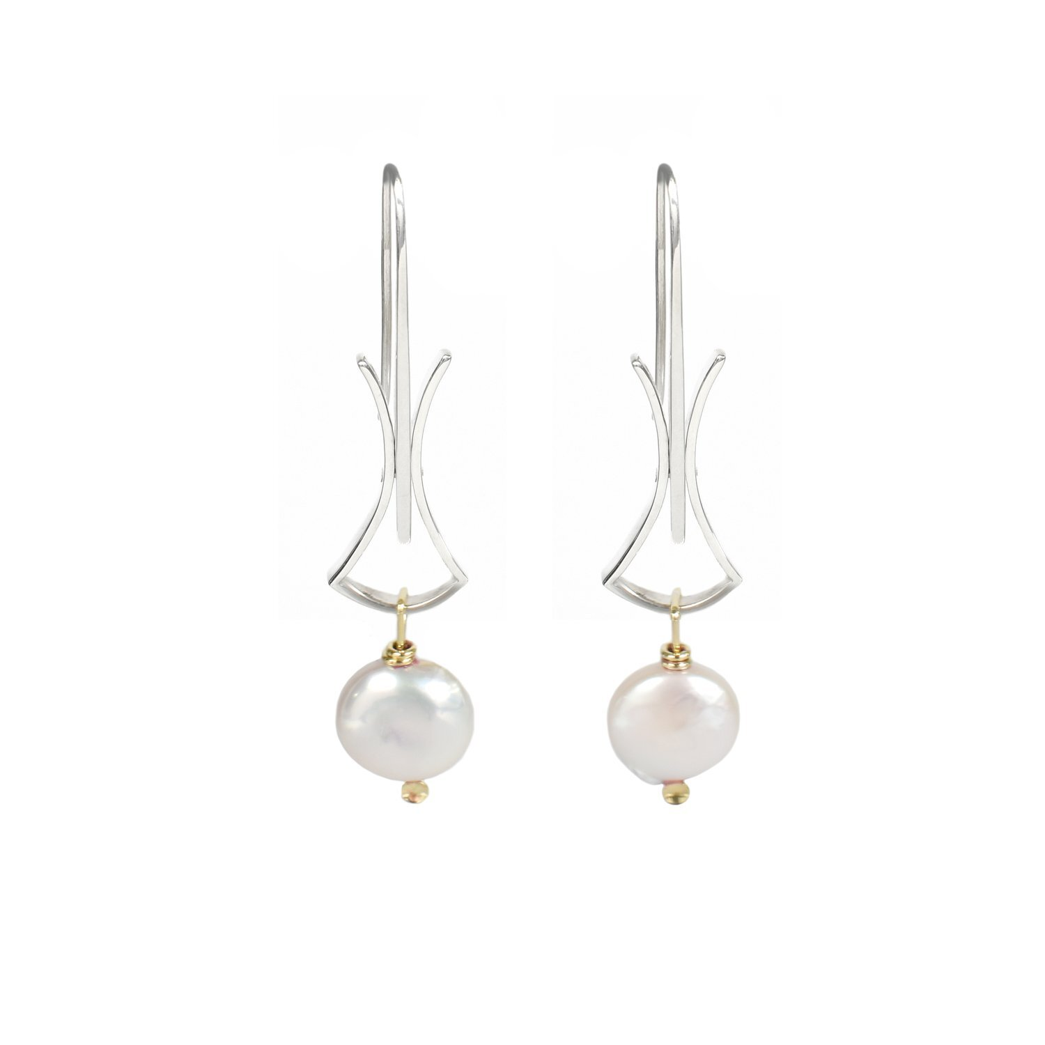 NL-E15 Silver Hourglass With Coin Pearls And 18 Kty Gold Earring.jpg