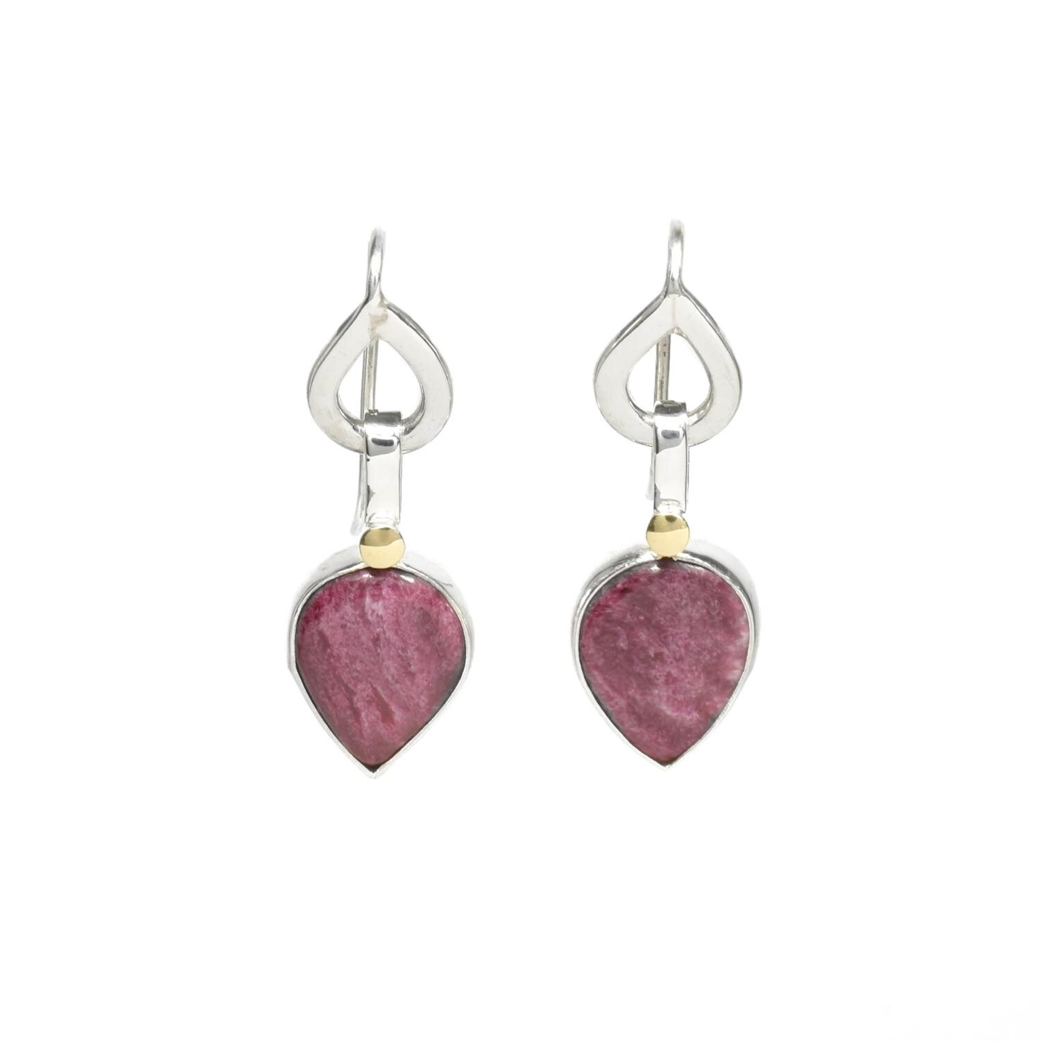 NL-E52 Silver Pear Drop With Putple Spiney Oyster 18KT Earring.jpg