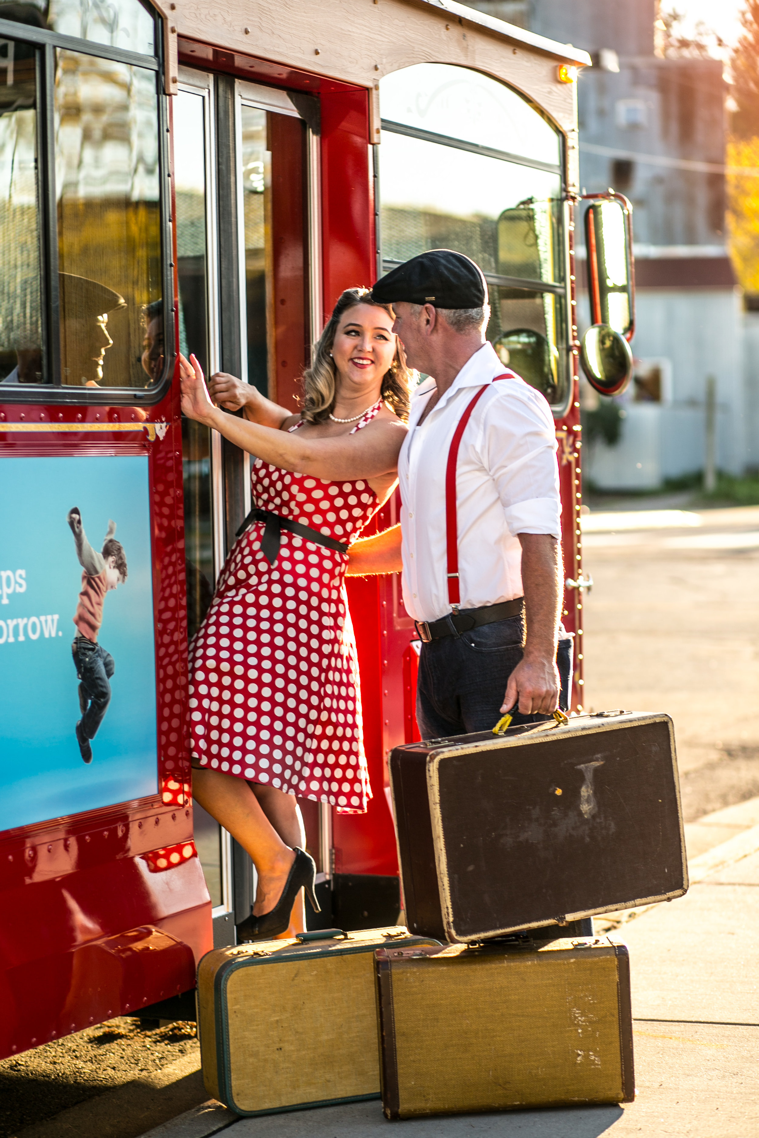 An engaged couple circa 1940's travels on the Stillwater MN Trolley