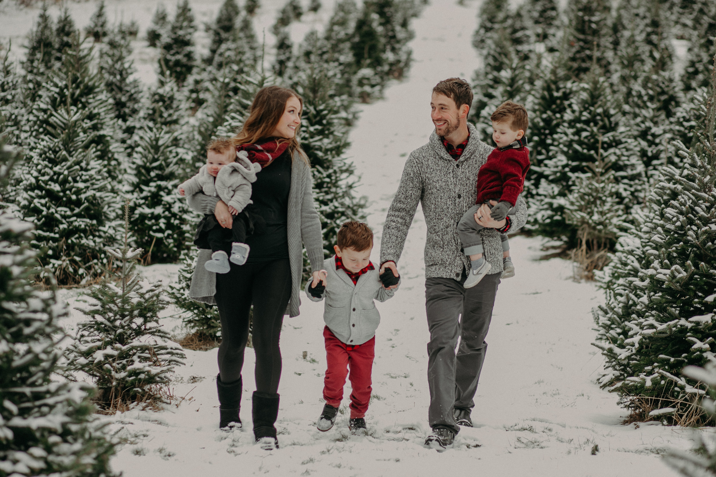 winter family photo session at Santa's Evergreens in Hudson WI