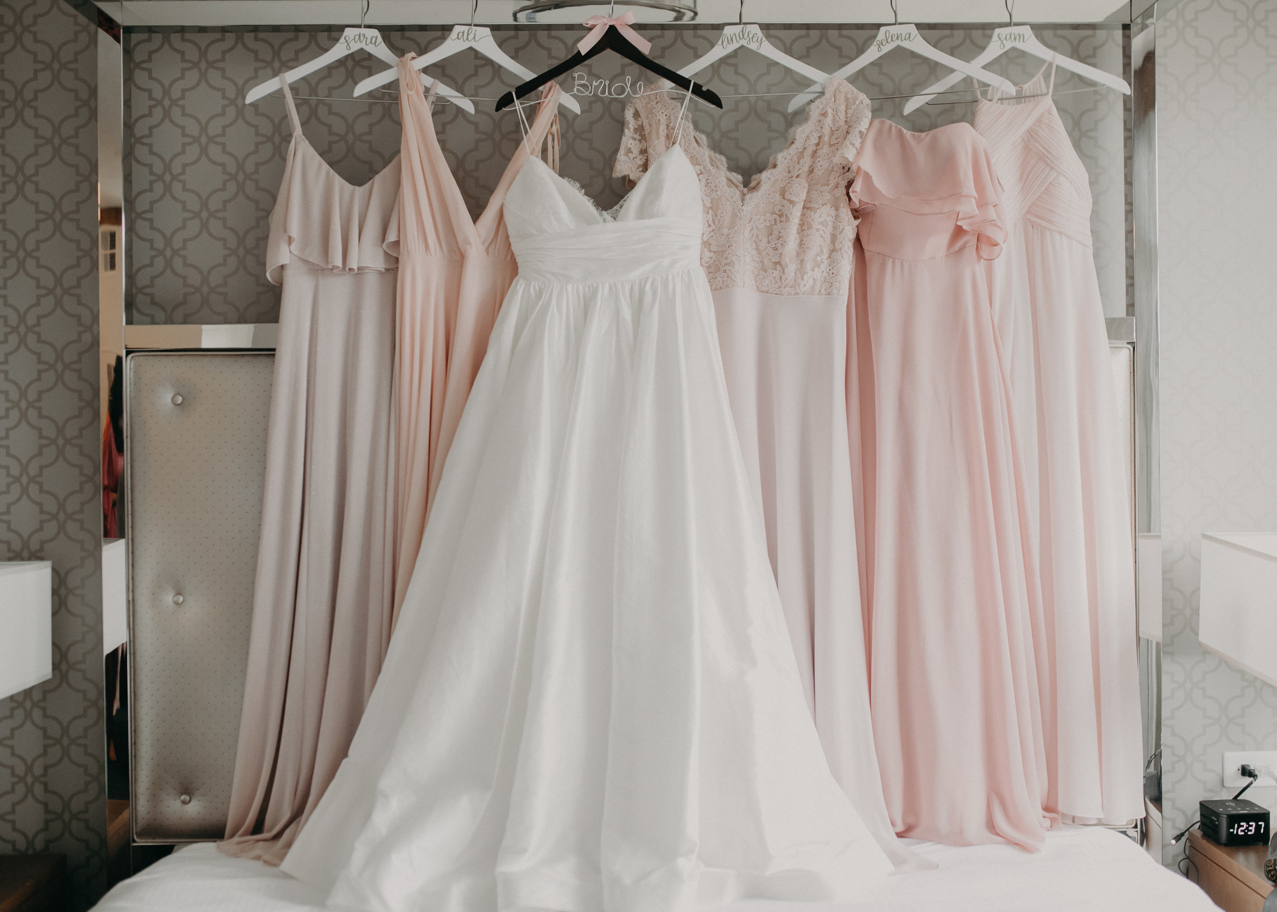 bridal suite at Hotel Landing in Wayzata MN with dresses