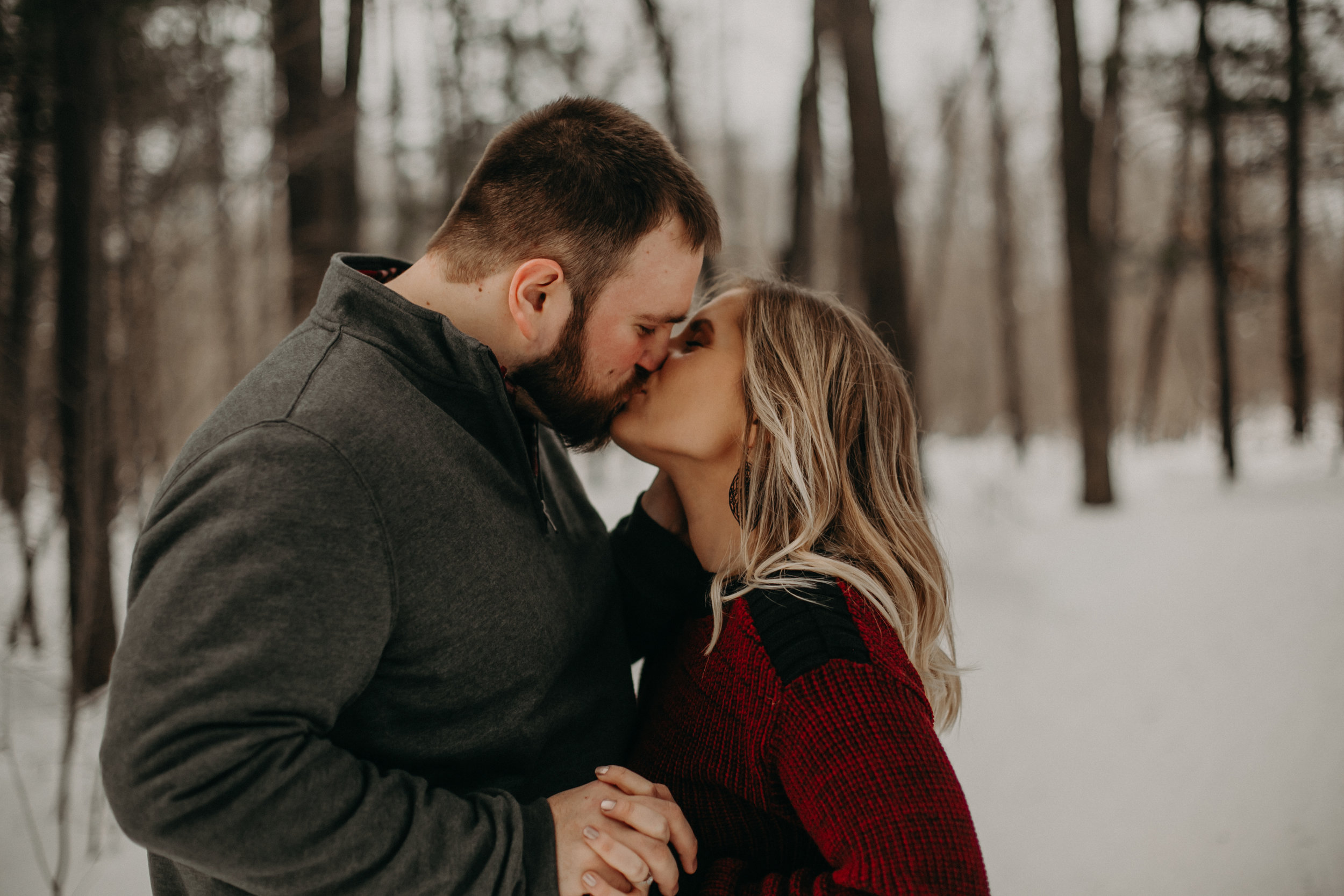 winter engagement session in Central Wisconsin