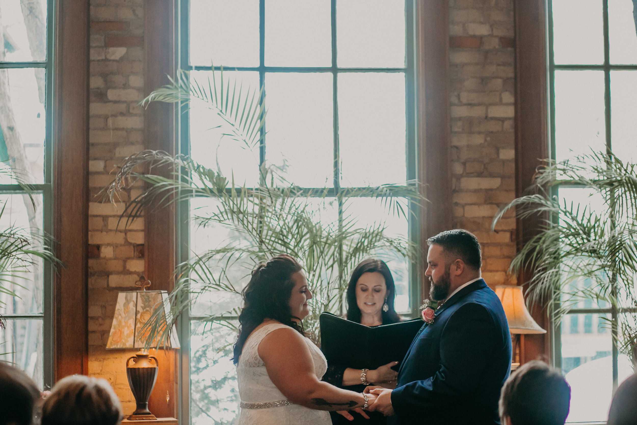 a small intimate wedding ceremony at W.A. Frost in March 2019