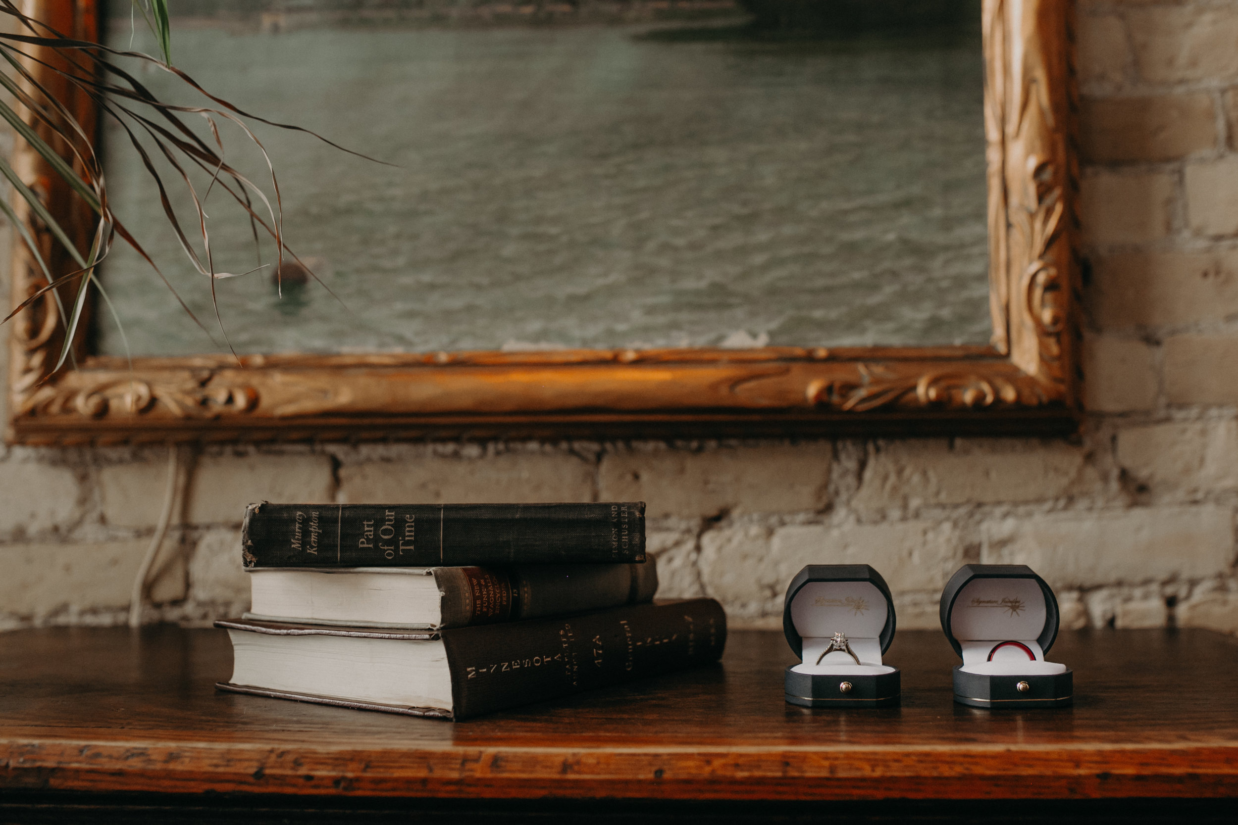Bride and Groom's wedding rings on a bookshelf at W.A. Frost during a small intimate wedding in March