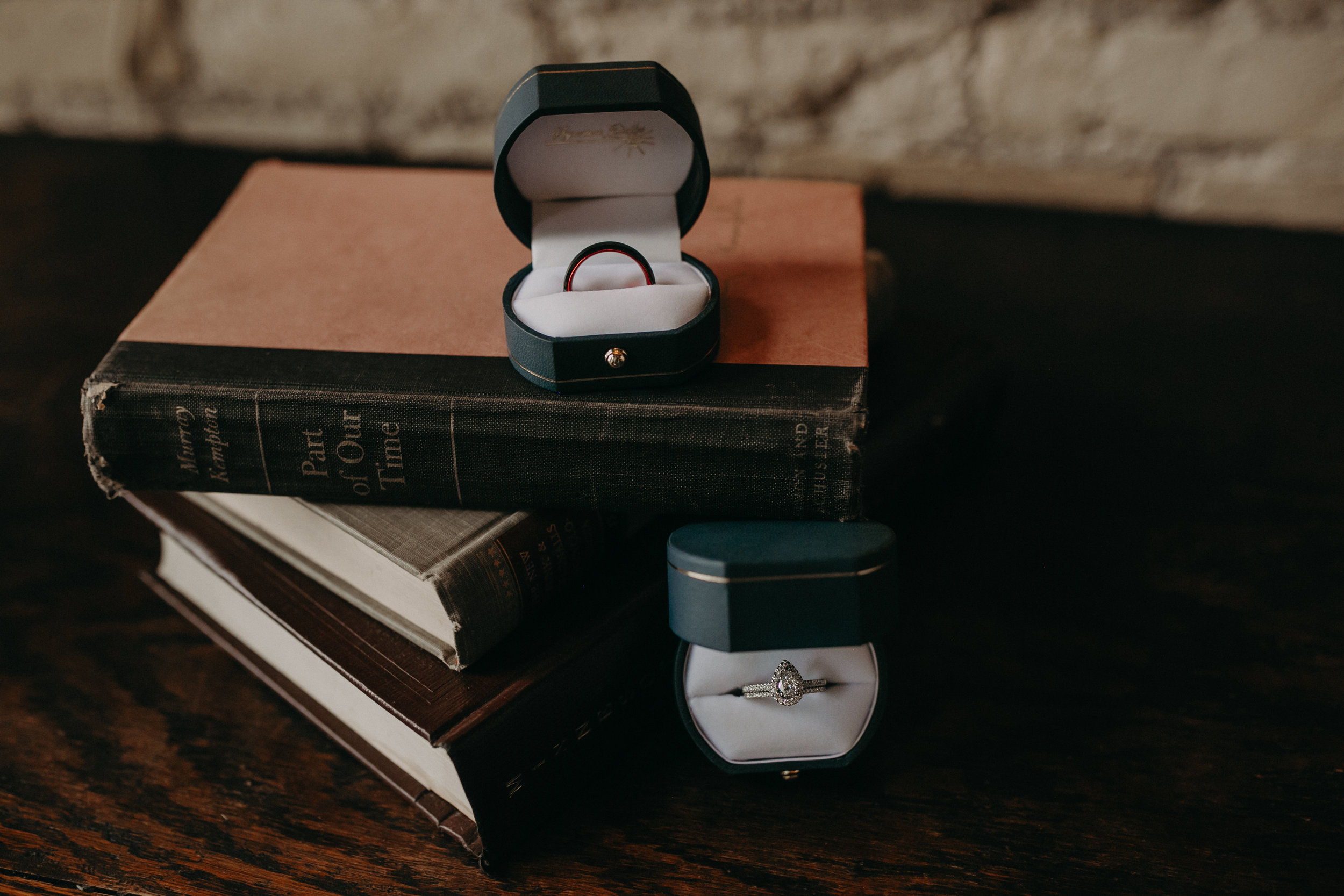 Andrea Wagner Photography captures wedding rings for an intimate wedding in St Paul MN at historic W.A. Frost restaurant