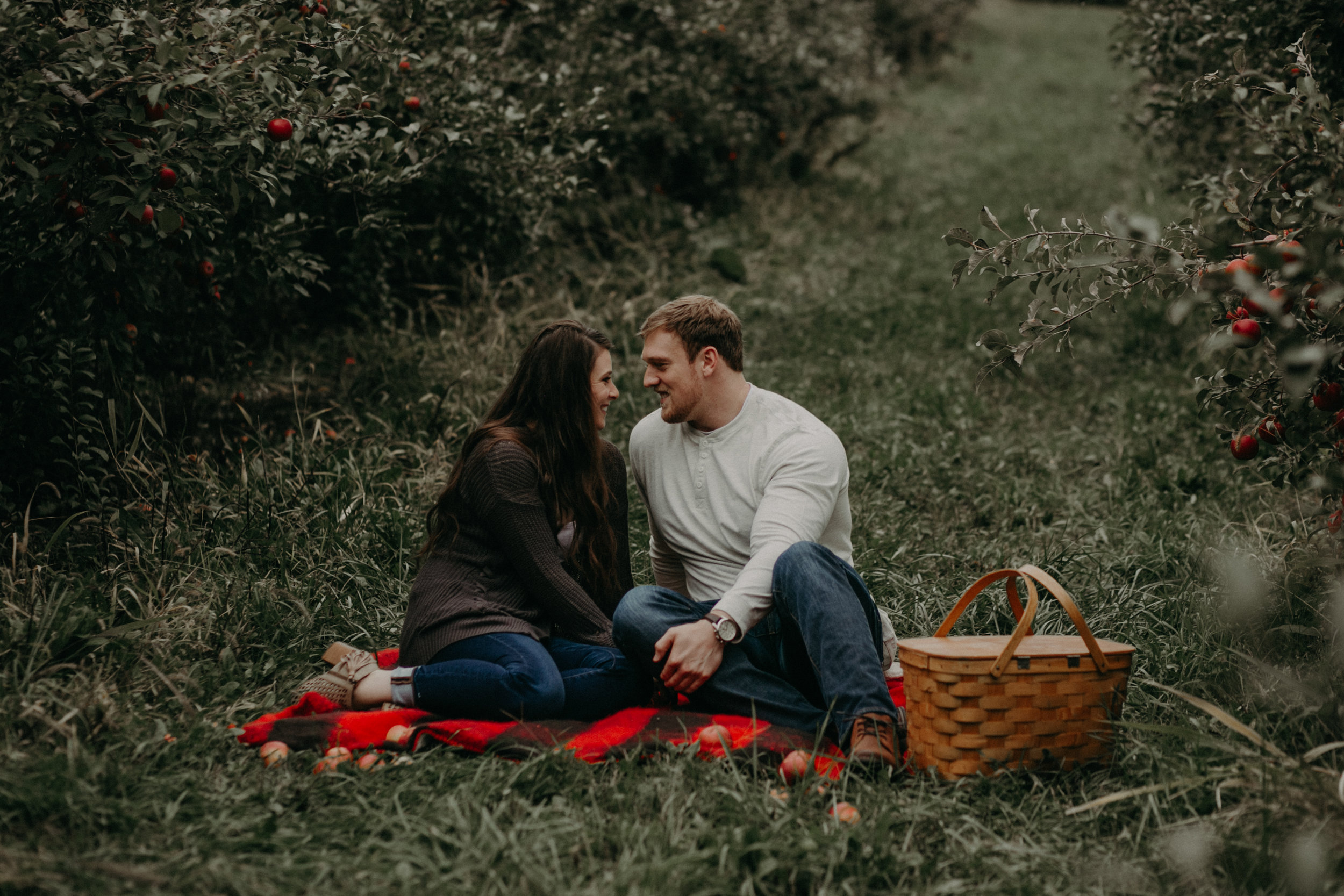 An engaged couple sits on a plaid blanket snuggling at Whistling Well Farm in Hastings MN