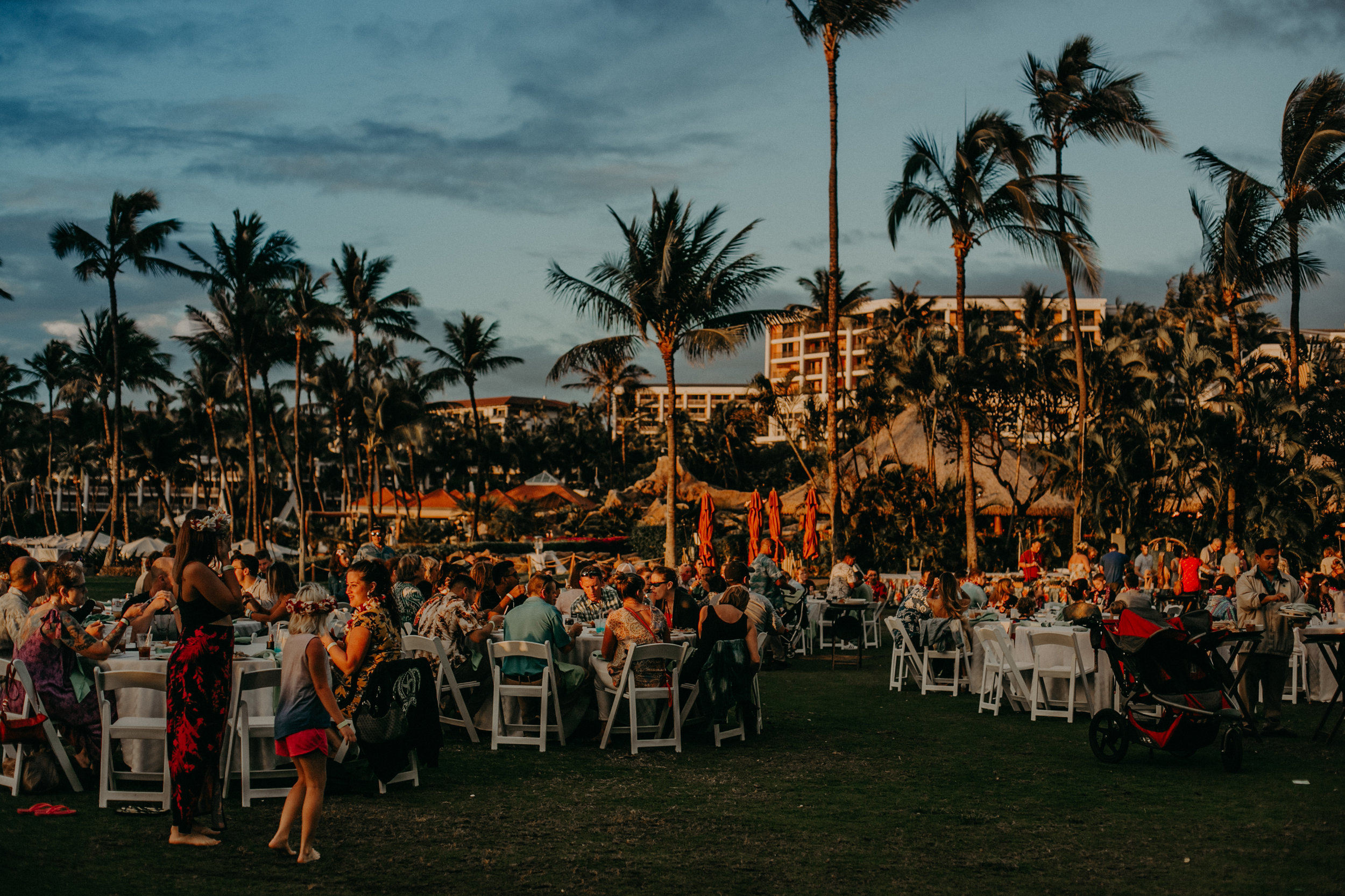 a luau at Grand Wailea resorts on Maui Hawaii at sunset