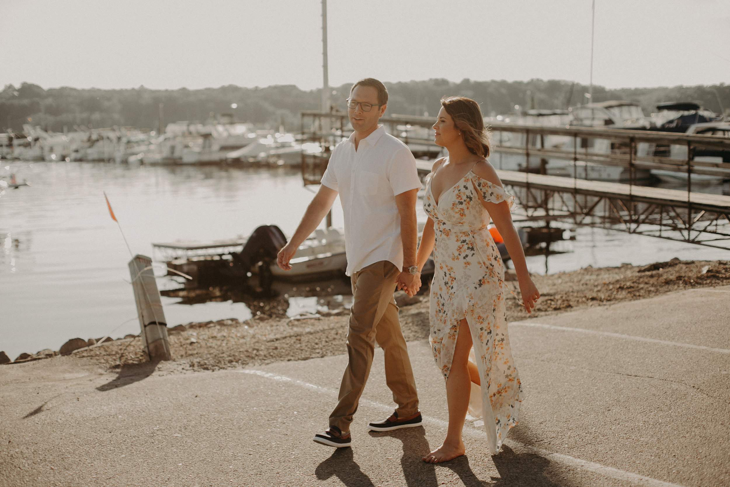 a sunset engagement session at the St Croix Marina