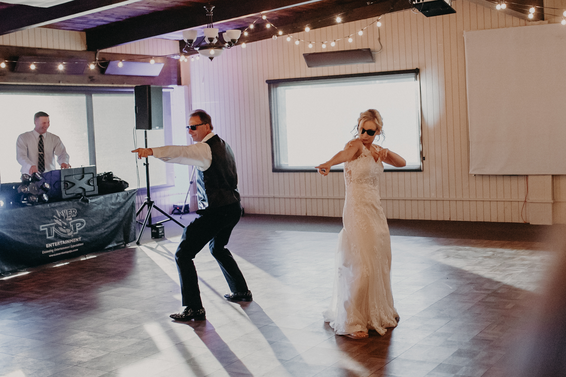 fun bride and father of the bride dance at RiverEdge in Marshfield
