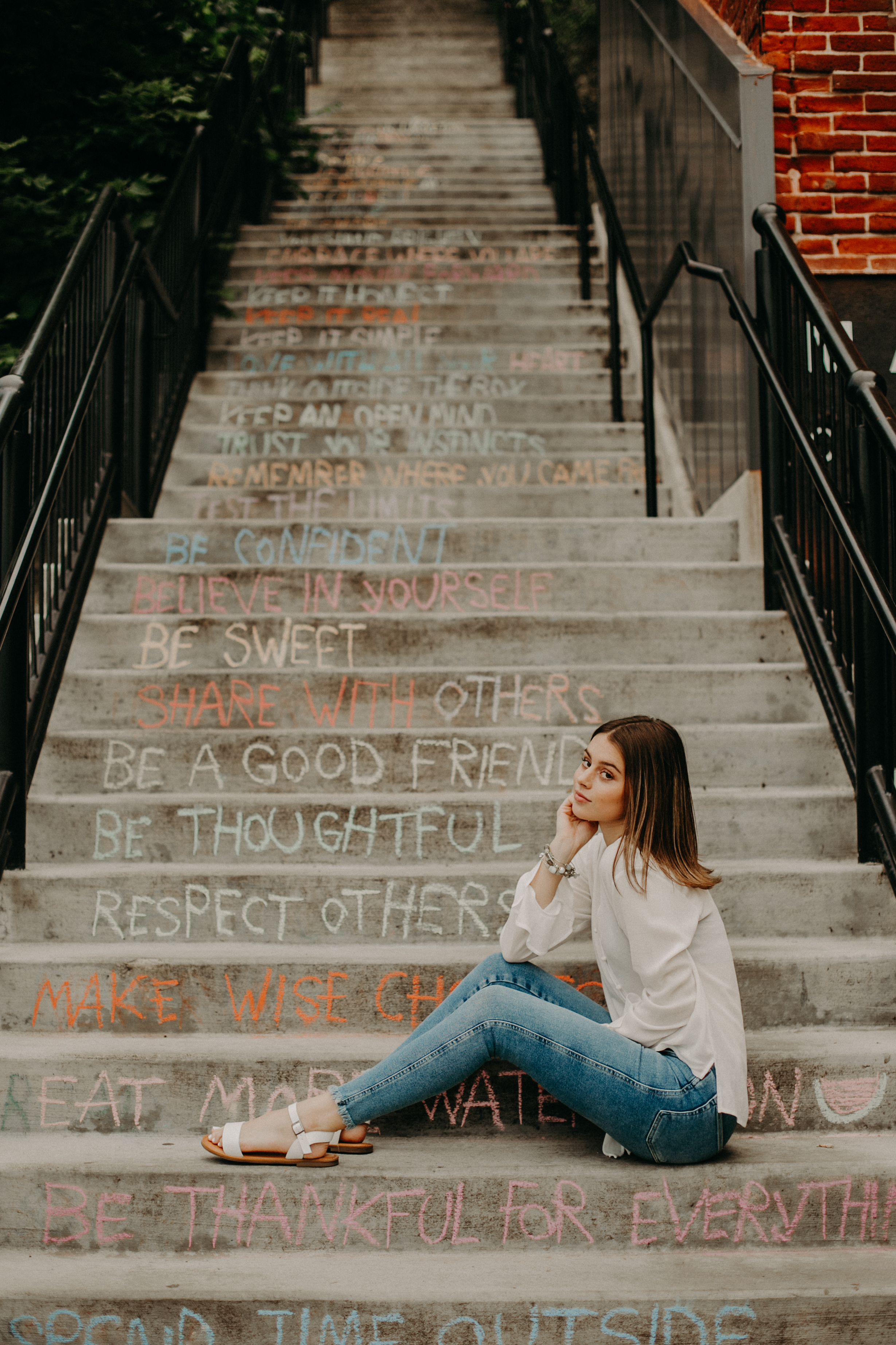 stairs with positive affirmations located in Stillwater MN perfect for photo opportunities and senior session