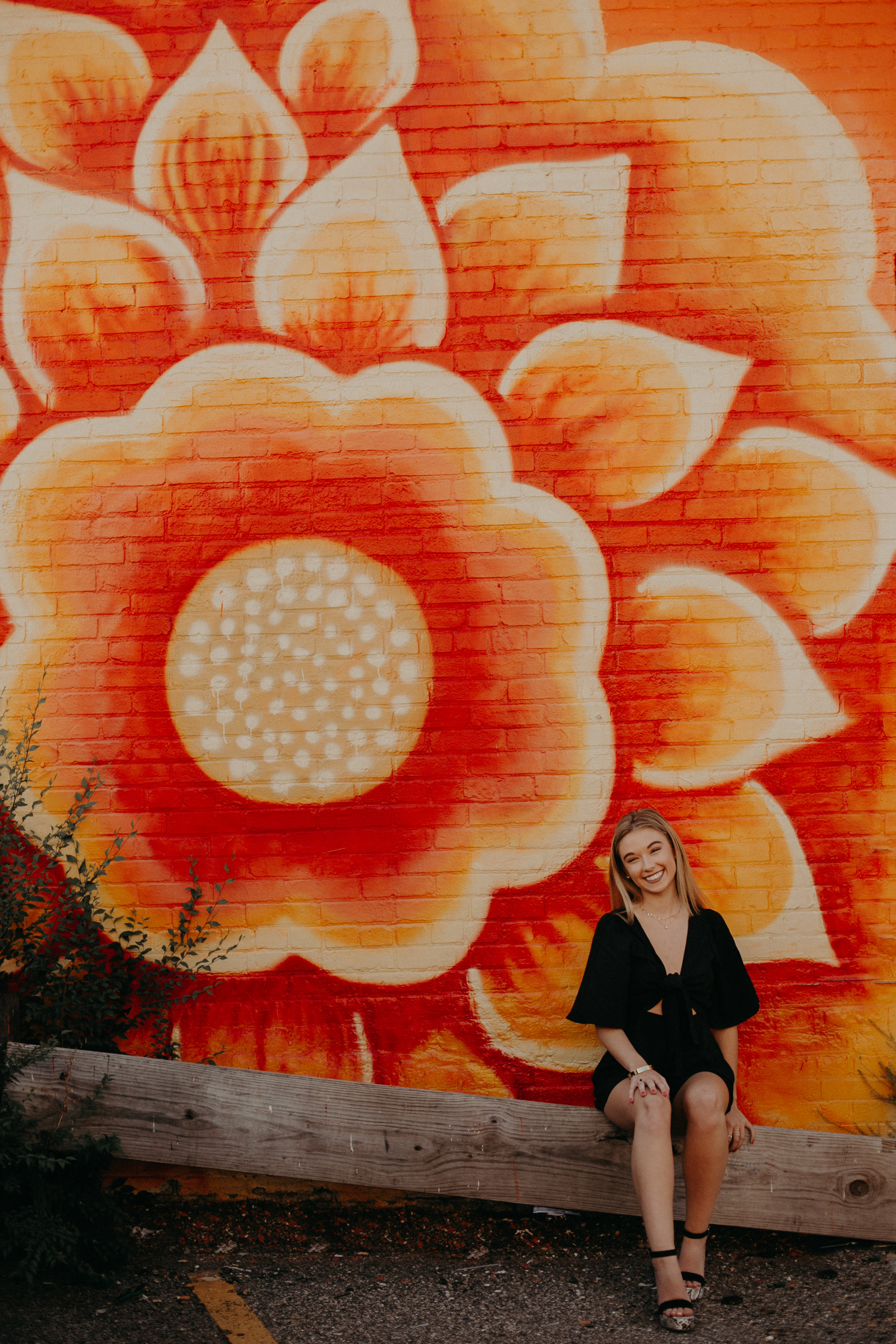 orange and yellow floral mural in Minneapolis MN