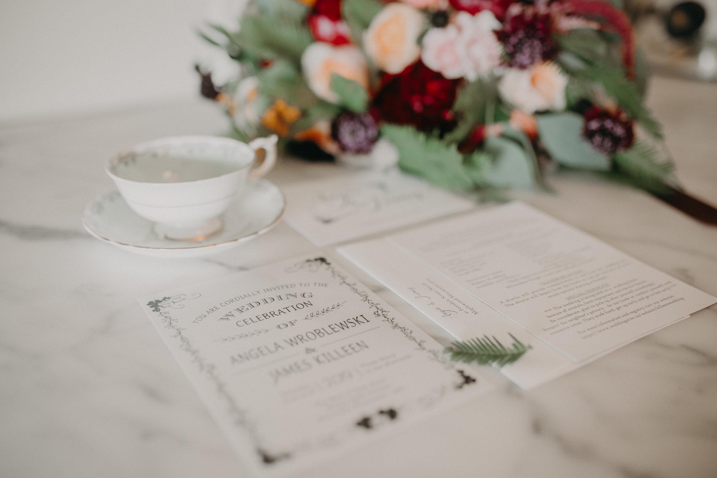 flat lay photos of Ellsworth WI irish wedding by Andrea Wagner Photography