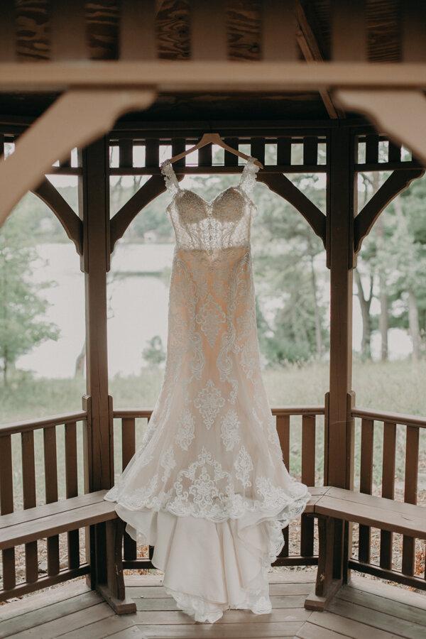 beautiful bride dress shot at Pine Lake Camp in Waupaca WI