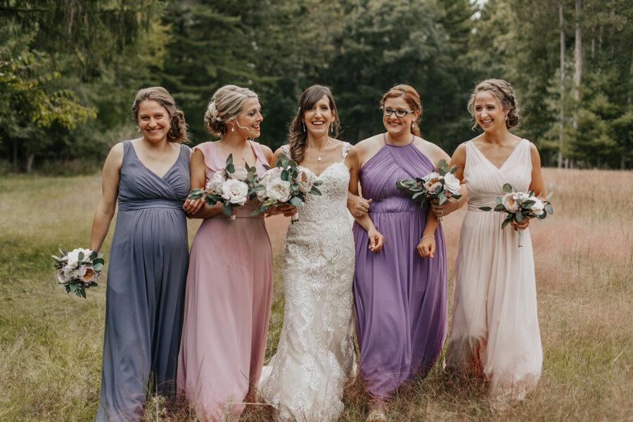 happy bridesmaids at Pine Lake Camp in Waupaca WI