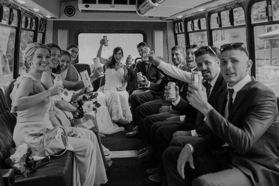 party bus at pine lake resort in Waupaca takes bridal party to Red Mill