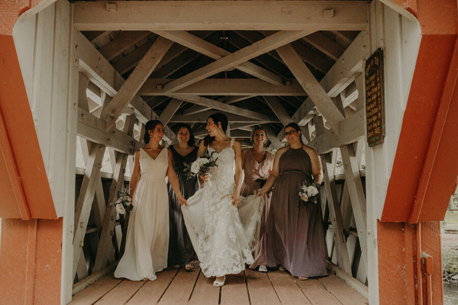 bridal party photographed by Andrea Wagner Photography at Red Mill in Waupaca WI