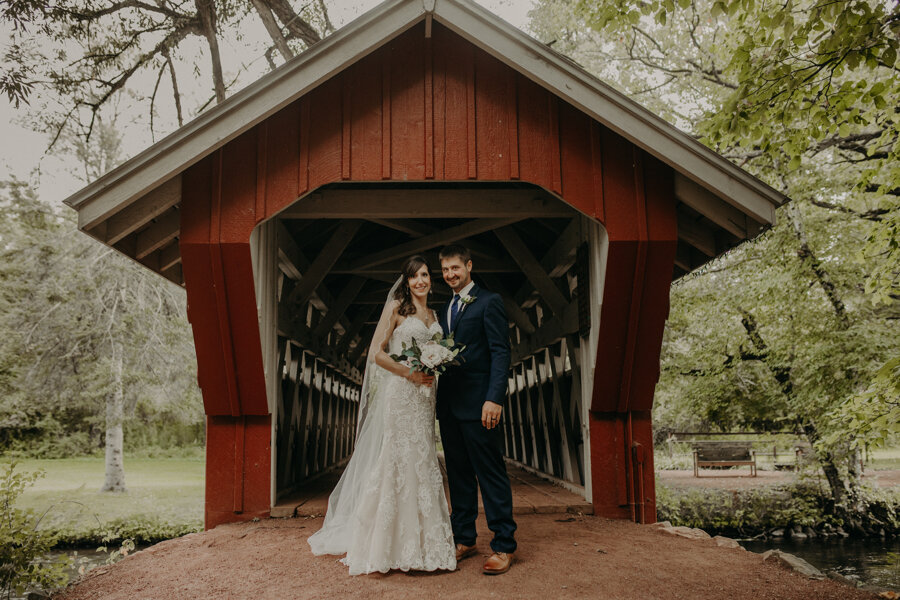 bride and groom portraits at Red Mill in Waupaca WI