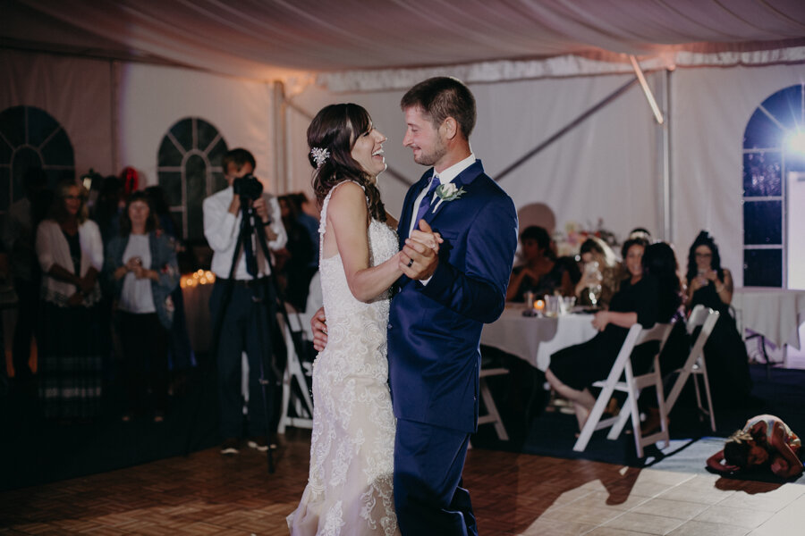 Andrea Wagner Photography captures first dance between bride and groom at Par 4 Resort in Waupaca WI