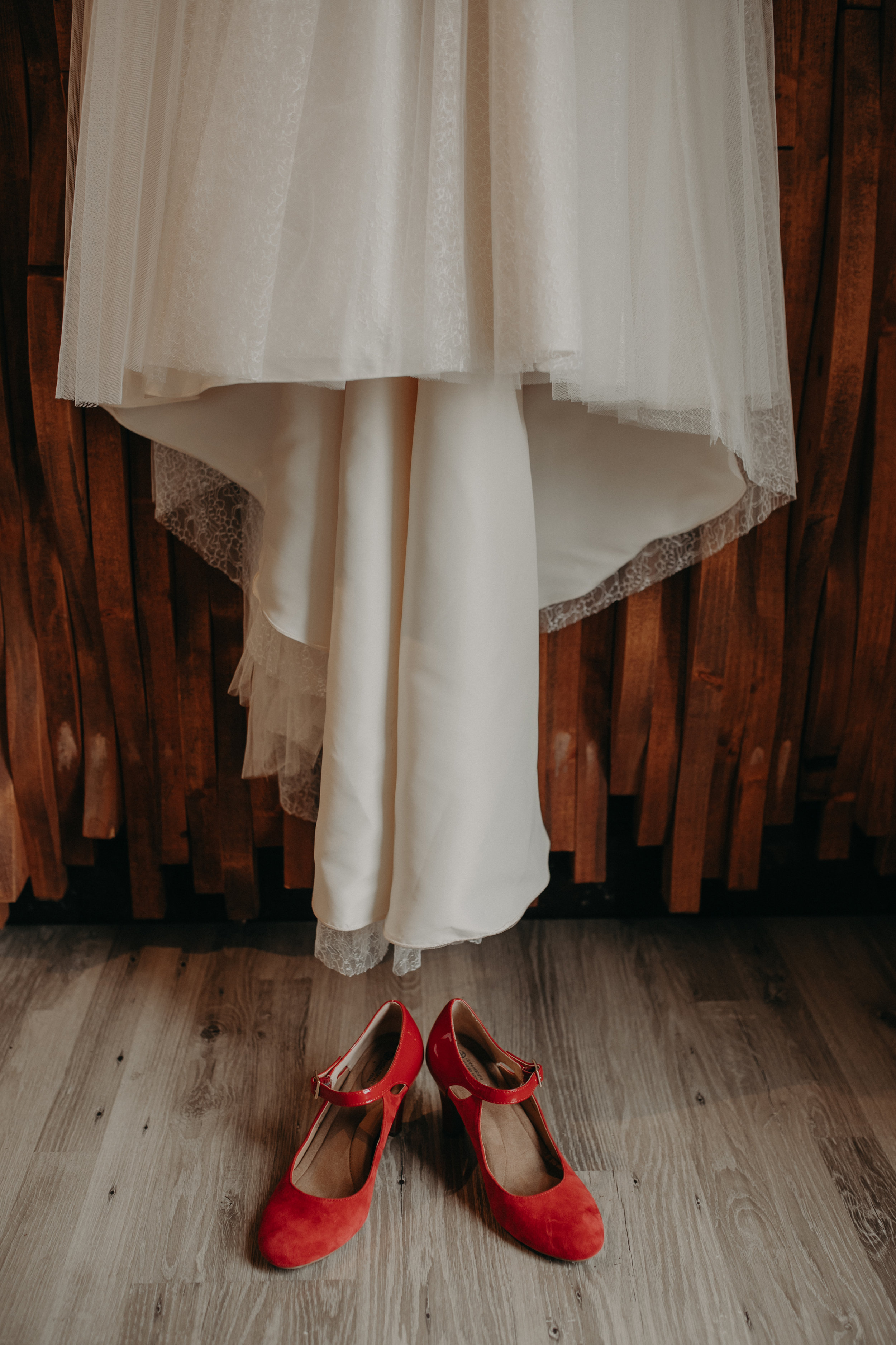 red wedding heels with Rebecca Ingram dress photographed by Andrea Wagner Photography in Stillwater MN