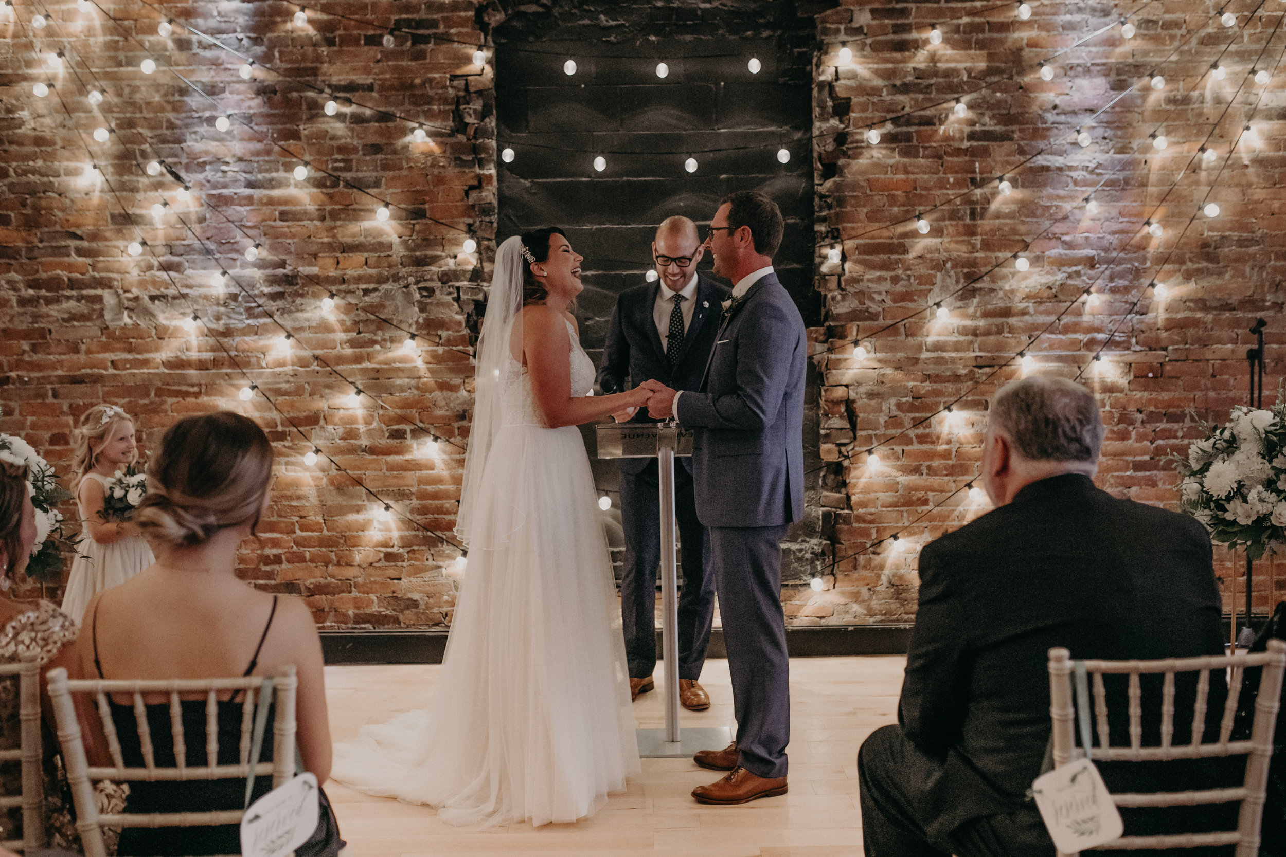 October wedding ceremony at The Loft at Studio J captured by Andrea Wagner photography