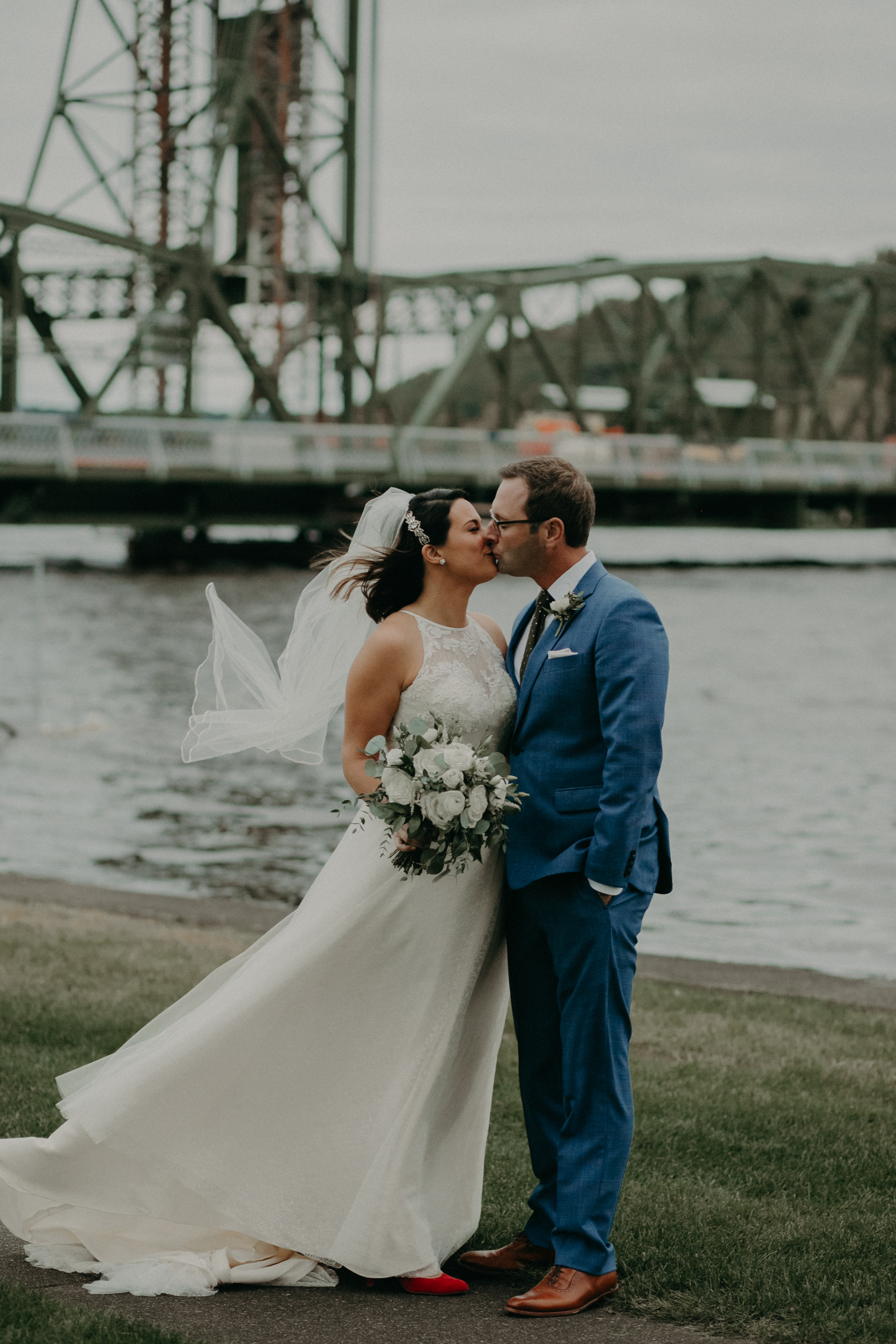 Stillwater MN bridge bride and groom portraits captured by Andrea Wagner Photography