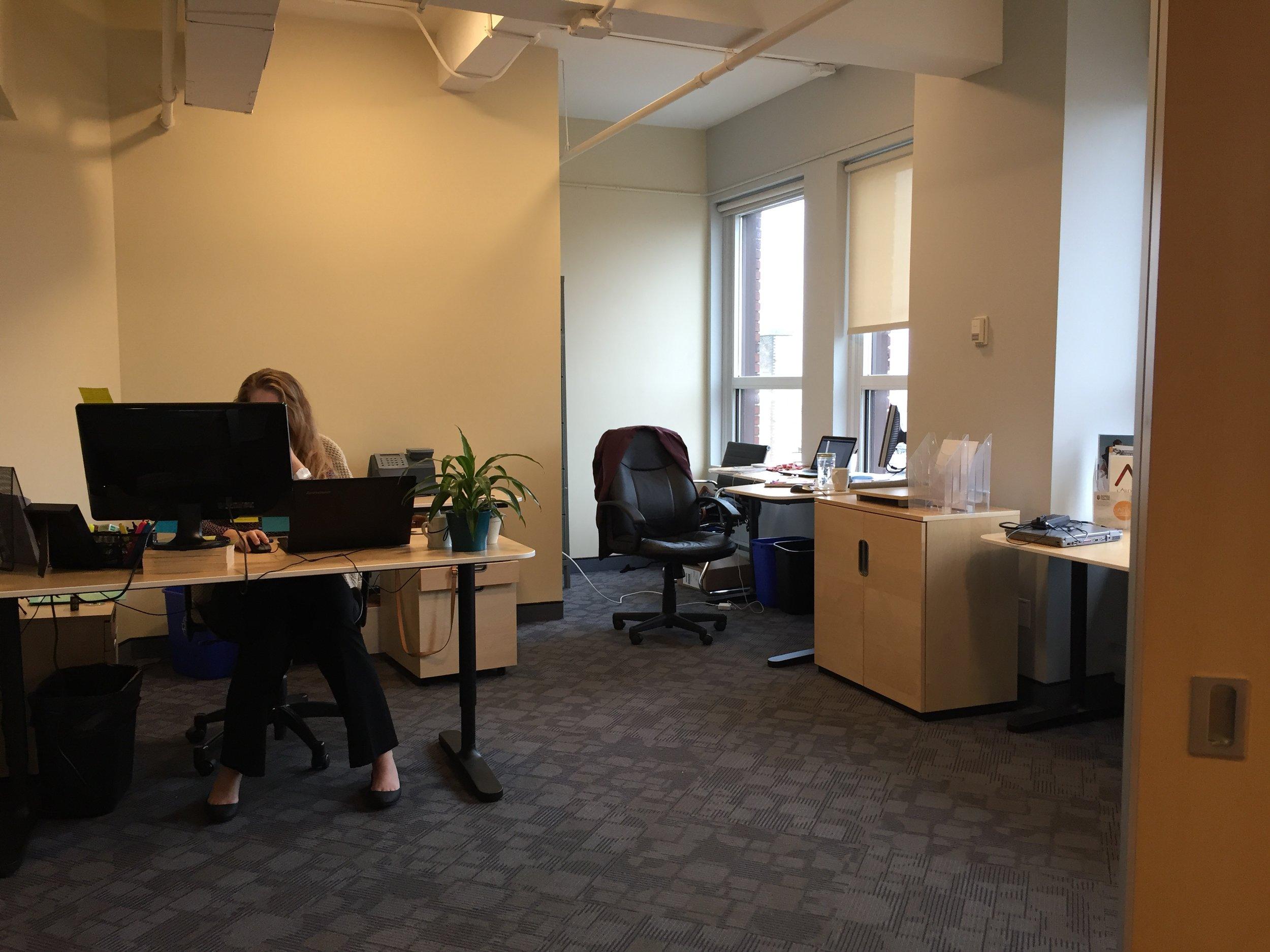 Rachel is hiding behind her desk...Rachel is boss :)