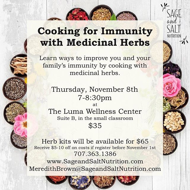 My next class is right around the corner!  In a small group, discussion based setting, you can learn more about how to improve your family's immunity with your cooking.  Herb kits with the herbs are also available, so that you can get started using your new knowledge right away. ✨ Register by Thursday to take advantage of early bird pricing.  Check my website for more info and email me to register @ MeredithBrown@SageandSaltNutrition.com. ✨Shipping is available for those of you not in the area. ✨ 💫 🌟 ⚡️ #alwayslearning #knowledgeispower #buildimmunity #immunityboost #preventativemedicine #preventillness #foodasmedicine #cleaneating #healthylifestyle #healthyfamily #happyfamily #stronghealth #strongwomen #naturalmama #naturalimmunity