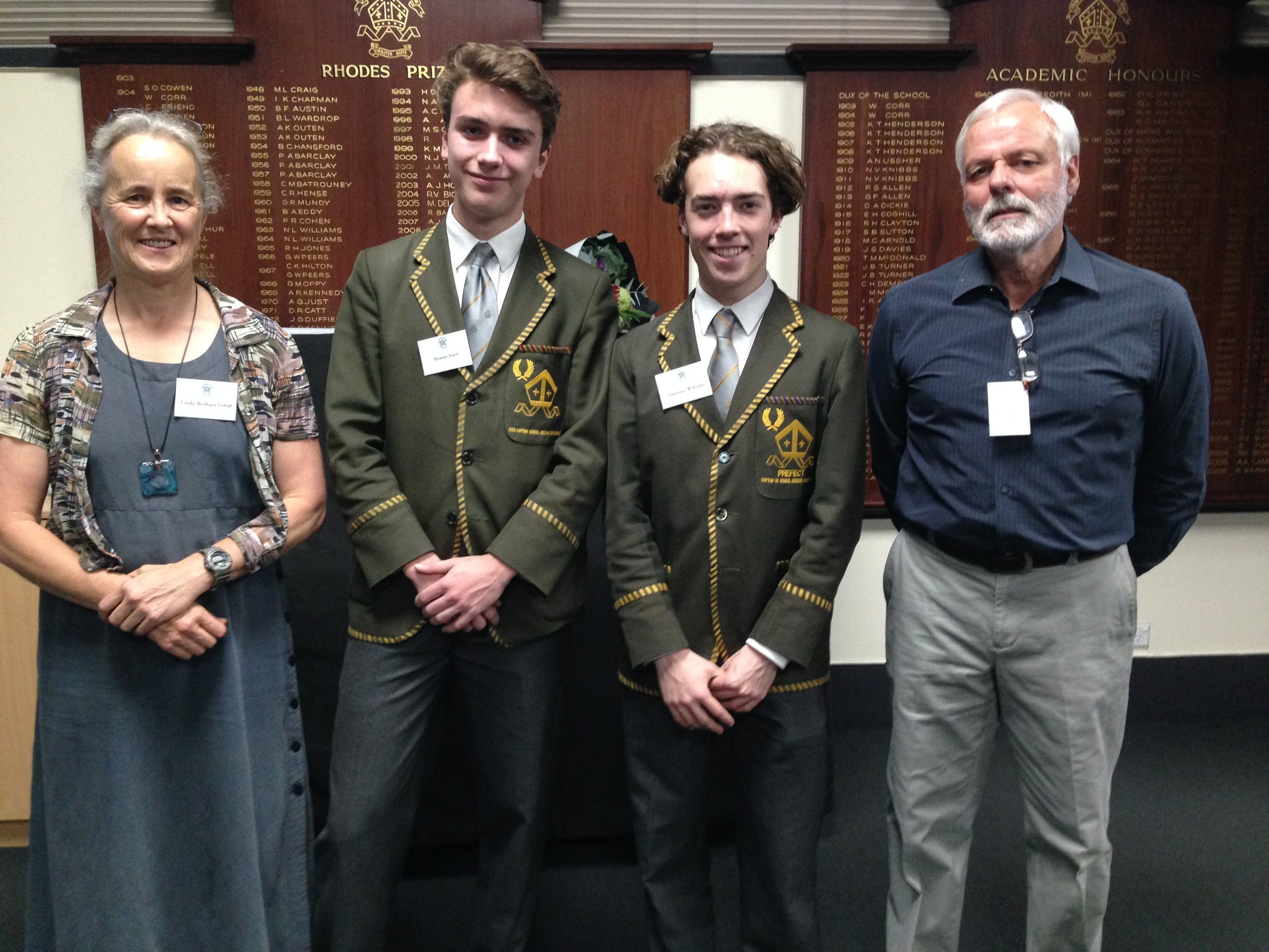 Year 12 Vice-Captain and Captain of Outdoor Education, Rowan Joyce and Laurence Williams, with guest speakers Linda Beilharz OAM and Rob Rigato