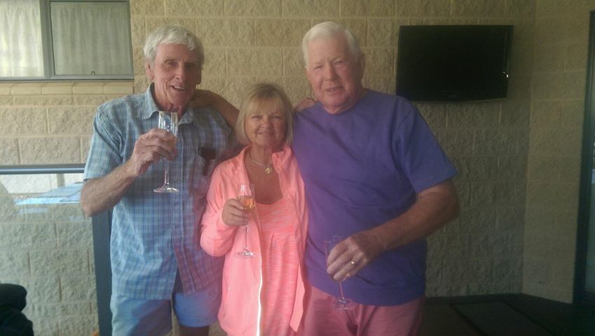 Graham with his mate from Trinity, Ken Bleakney, and Ken's wife, Lynne.