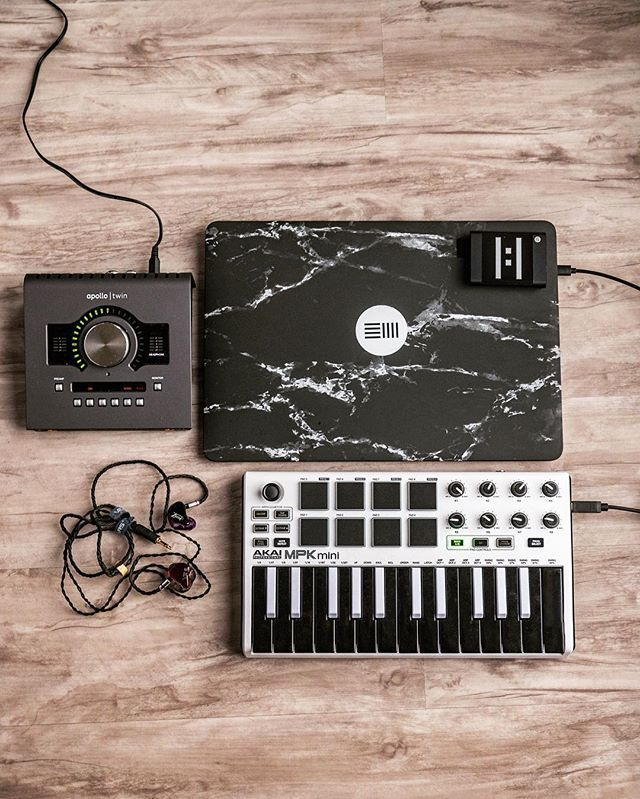 My mobile setup right now. What's yours? — Apple MacBook Pro late 2018 Samsung T5 1TB Drive Universal Audio Apollo Twin Mkii Quad AKAI MPK Mini Limited edition Vision Ears VE8 with Brise Audio Cable