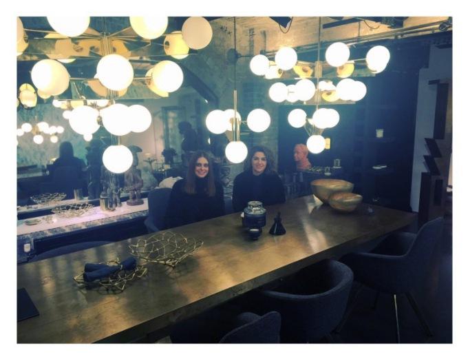 Kim & Athena enjoying a tour @ the Tom Dixon London showroom.