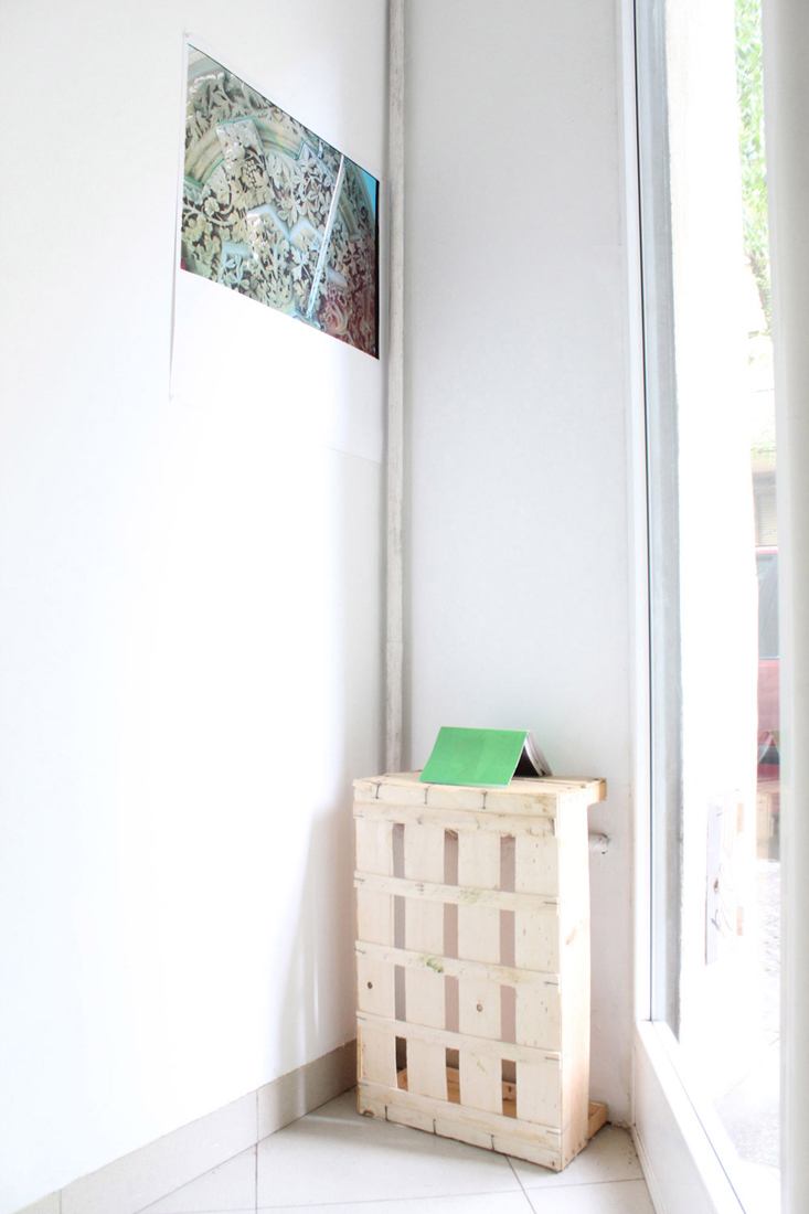'Looking into the corner': Green Relief, with Photo Album [Barcelona]. 2015. Installation View Detail. WTA Artspace, Barcelona.