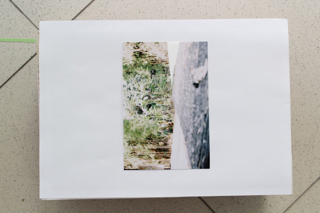 Looking down onto 'Pathway into the Hedges'. 2015. photographic print (4x6inc), green tape, concrete, plywood box, dimensions variable.
