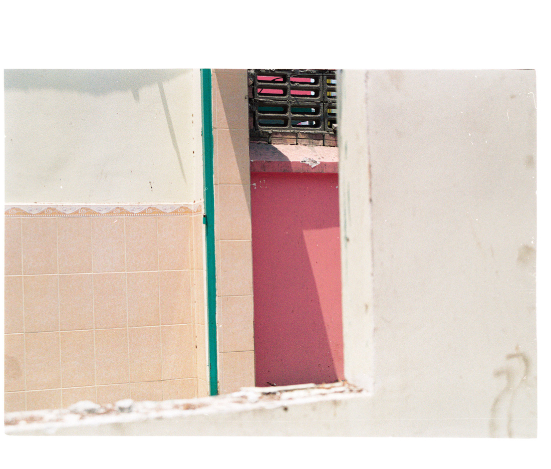 Re-framing the Ruin [detail with pink]. 2015. Archival Inkjet Print on Hahnemühle Photo Rag. 38.56x43.95cm. Edition of 5 + 2 AP.